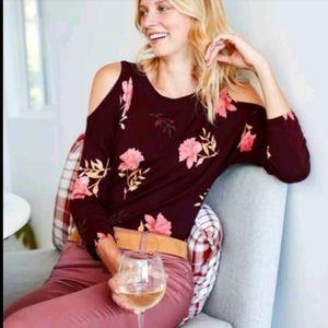Nwot Daniel Rainn Wine Cold-shoulder Sweater Top